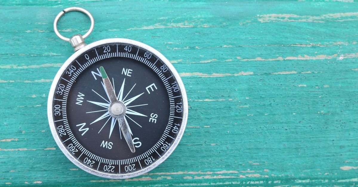 Classic round compass on green wooden vintage background
