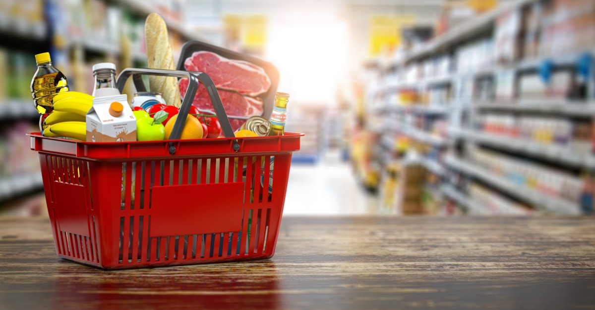 Shopping basket with fresh food. Grocery supermarket, food and eats online buying and delivery concept. 3d illustration