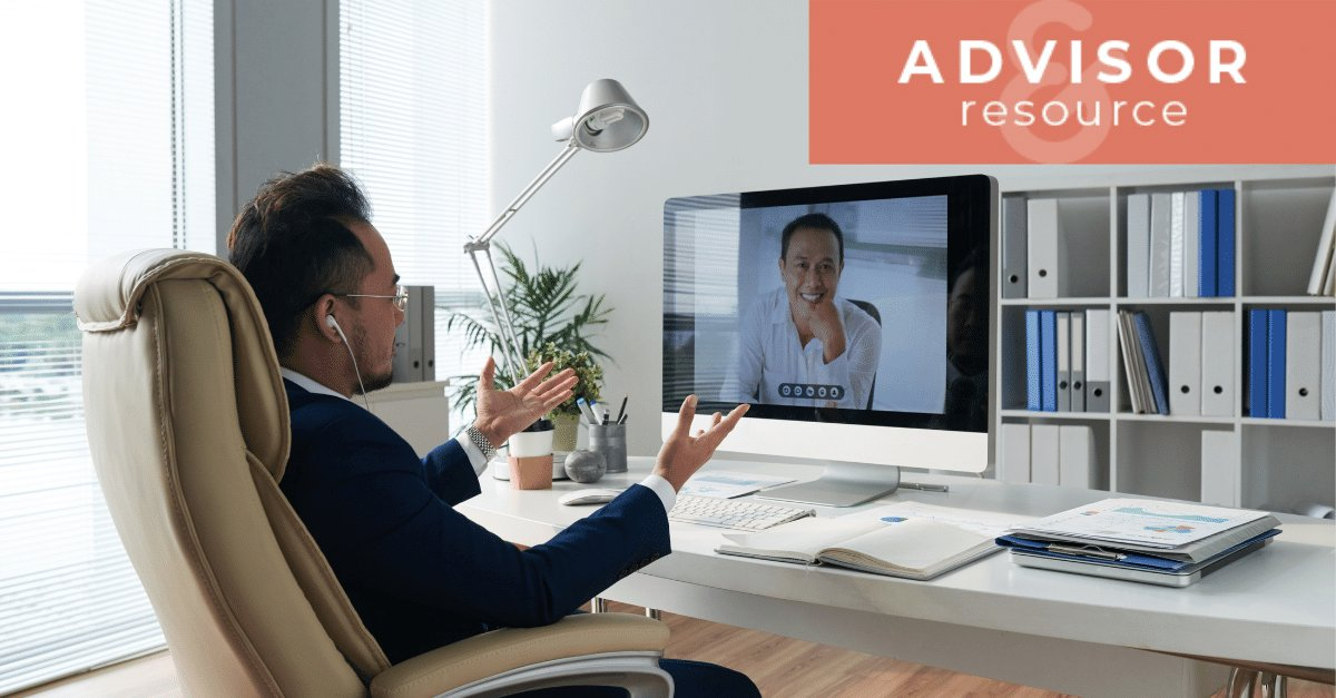 a CEO talking to an advisor on video call